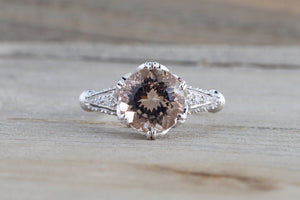 18k White Gold Vintage Art Deco Round Peach Pink Morganite Diamond Engagement Anniversary Ring Crown