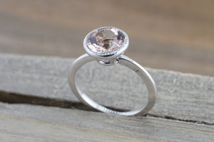 8mm 14k White Gold Round Pink Peach Morganite Bezel Solitaire Engagement Ring Anniversary