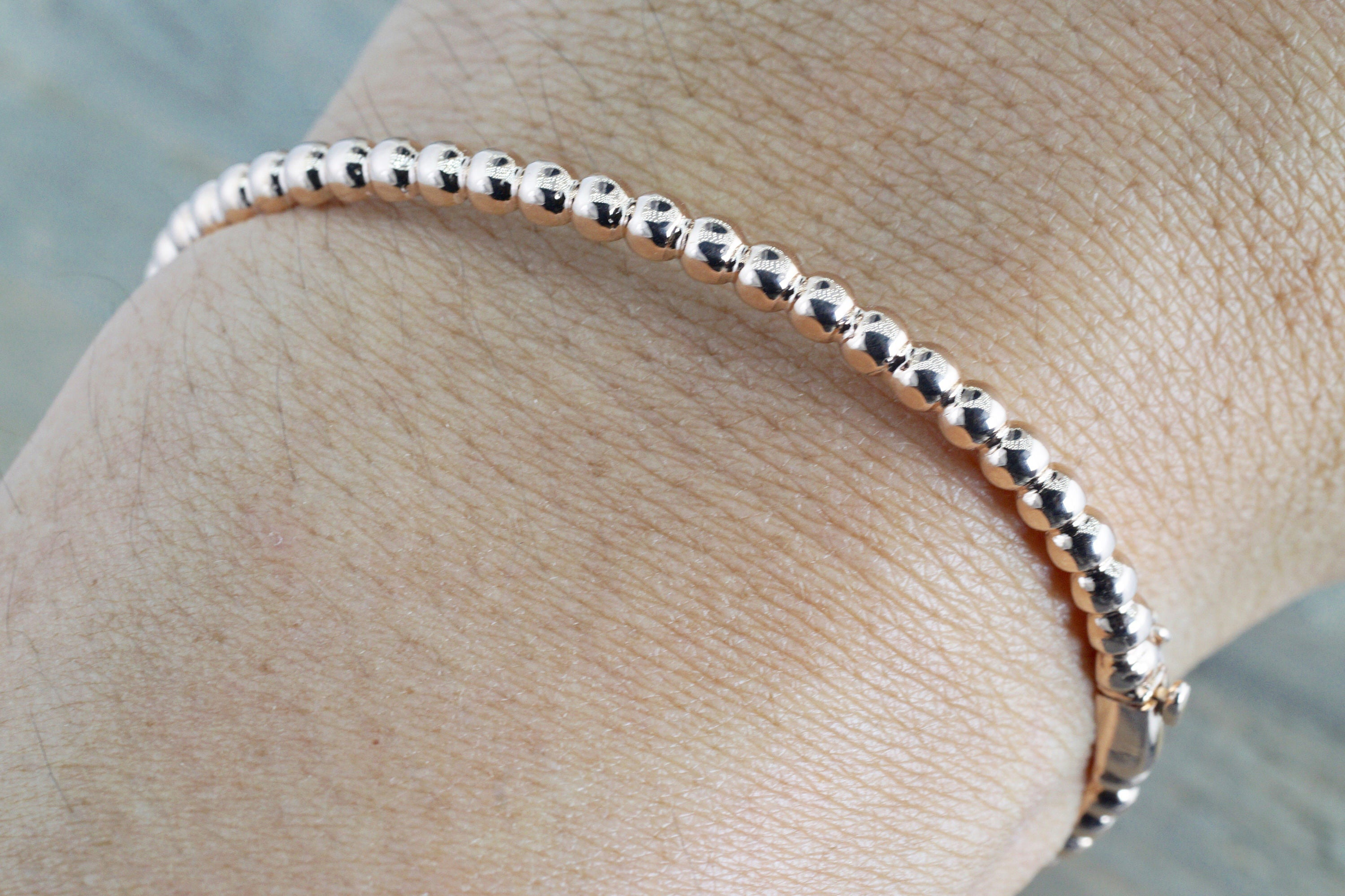 the swarovski clear adjustable anklet with gemseller solid rose plated gold pin length