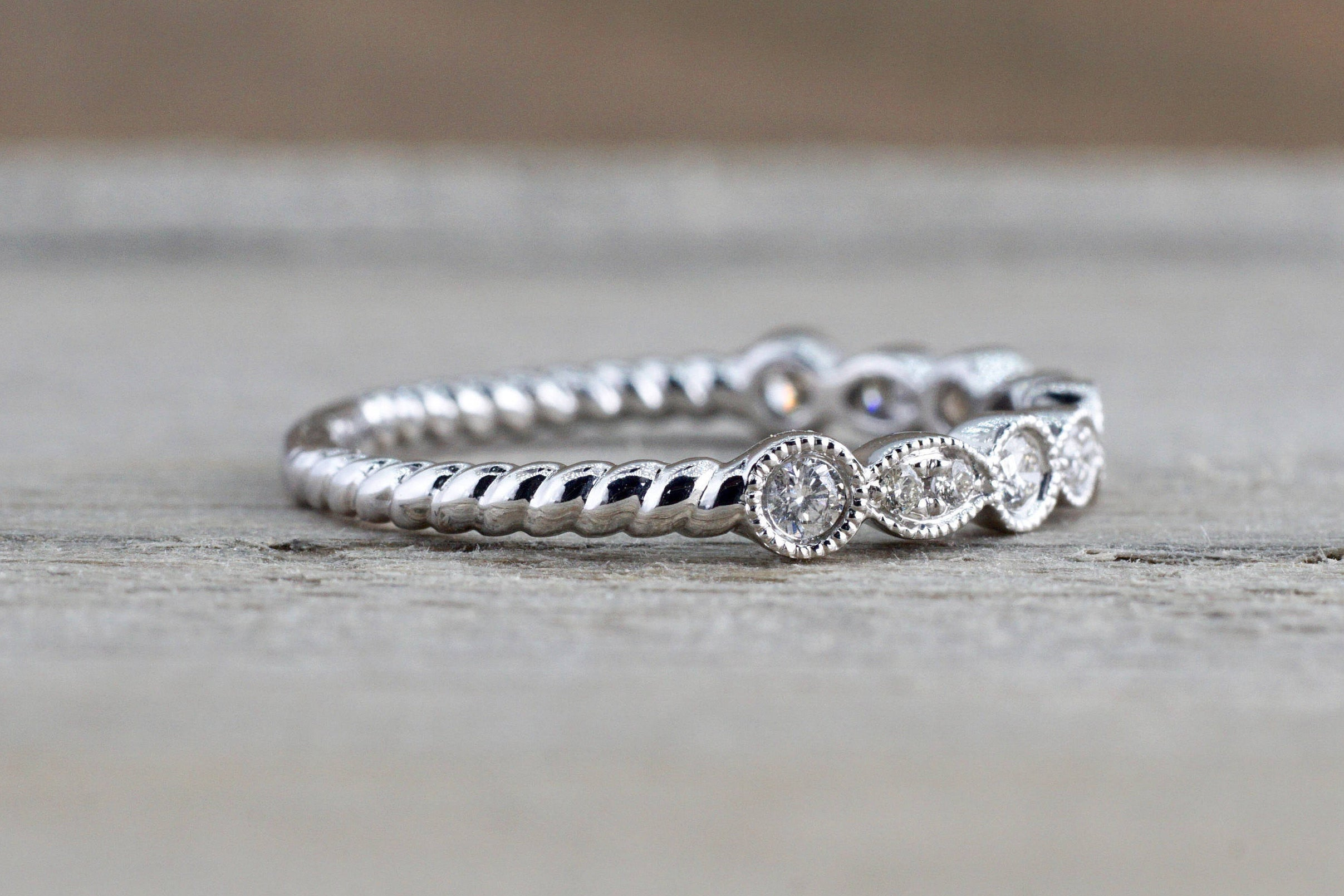 14k White Gold Round Cut Diamond Rope Twined Vine Engagement Pave Stackable Stacking Promise Ring