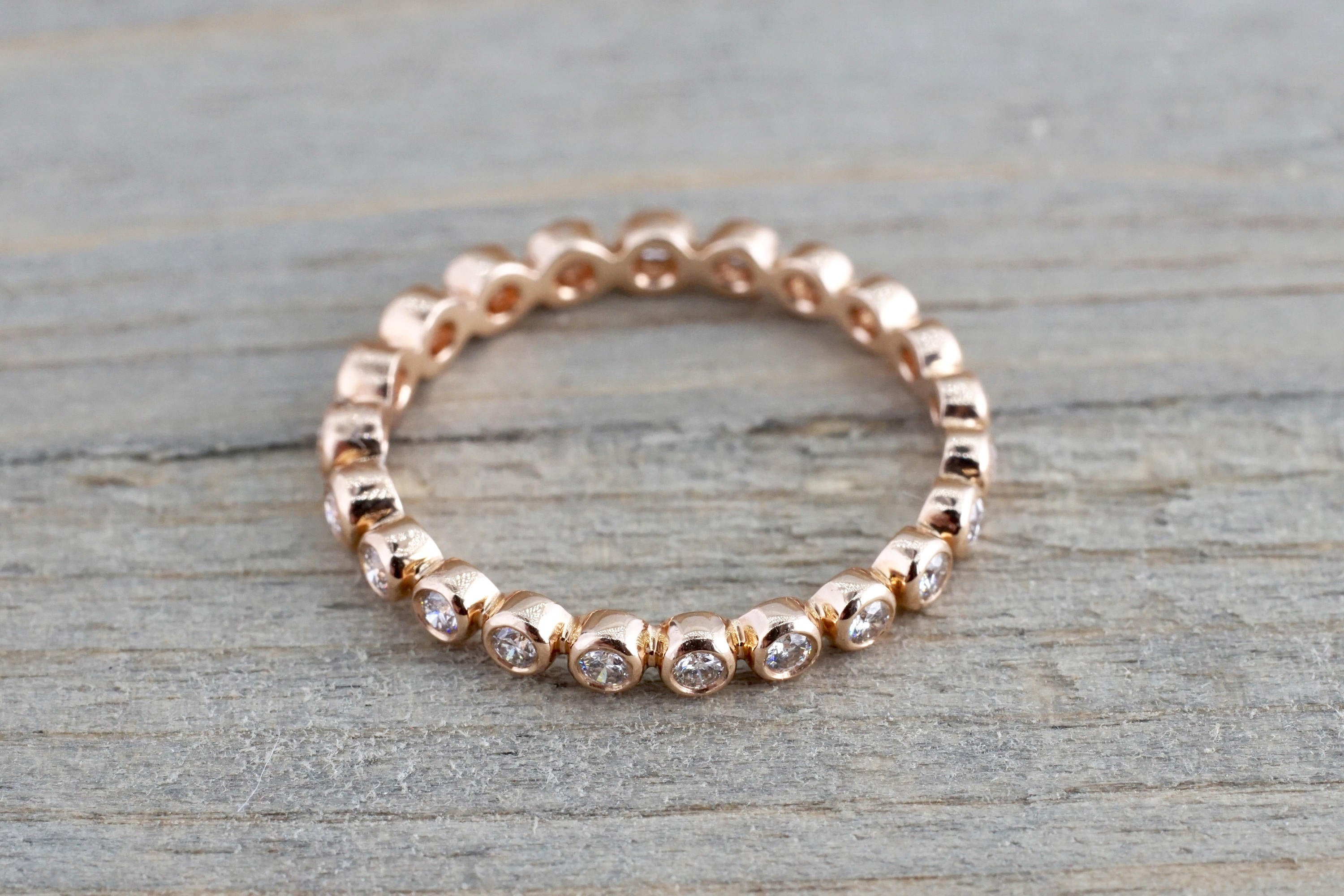 14k Rose Gold Round Cut Diamond Bezel Full Eternity Stackable Stacking Promise Ring Anniversary Bead - Brilliant Facets