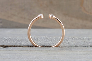14k Rose Gold Round Cut Diamond Bezel Open Cuff Fashion Promise Ring - Brilliant Facets