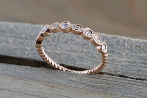 14k Rose Gold Round Cut Diamond Rope Twined Vine Pave Stackable Stacking Promise Ring Anniversary Band - Brilliant Facets