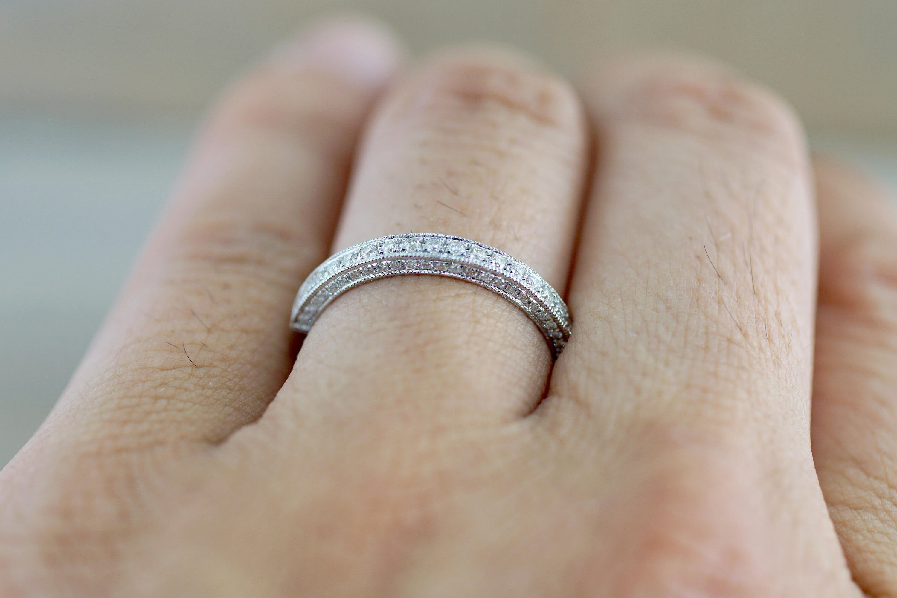 14k White Gold Round Cut Diamond 3 face Stackable Wedding Anniversary Promise Engagement Ring Band