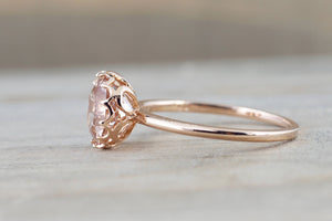 8mm Mandi 14k Rose Gold Round Morganite Engagement Ring Crown Vintage Solitaire