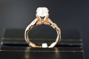 7x5mm Moissanite on 14k Rose Gold Diamond Infinity Twist Crossover Engagement Ring