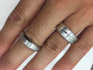 His and Hers Cobalt Engagement Rings Wedding Bands Bridal Groom Domed Grooved Pipecut Men's
