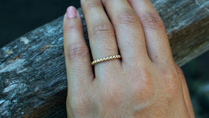 14kt Solid Yellow Gold Twined Bead Ball Rope Twisted Stackable Ring Band Wedding Engagement Love Promise