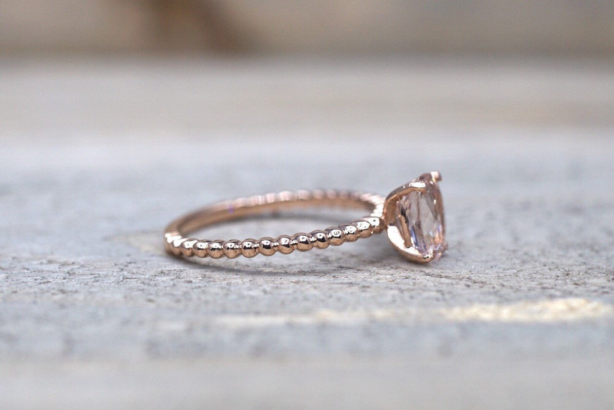 14k Rose Gold Elongated Oval Cut Pink Peach Morganite - Brilliant Facets