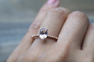 Solid Gold Oval Beaded Ring