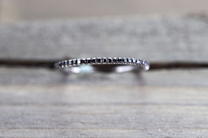 14k White Gold Black Diamond Eternity Band Ring Micro Pave Set Dainty Thin Stackable Stacking - Brilliant Facets