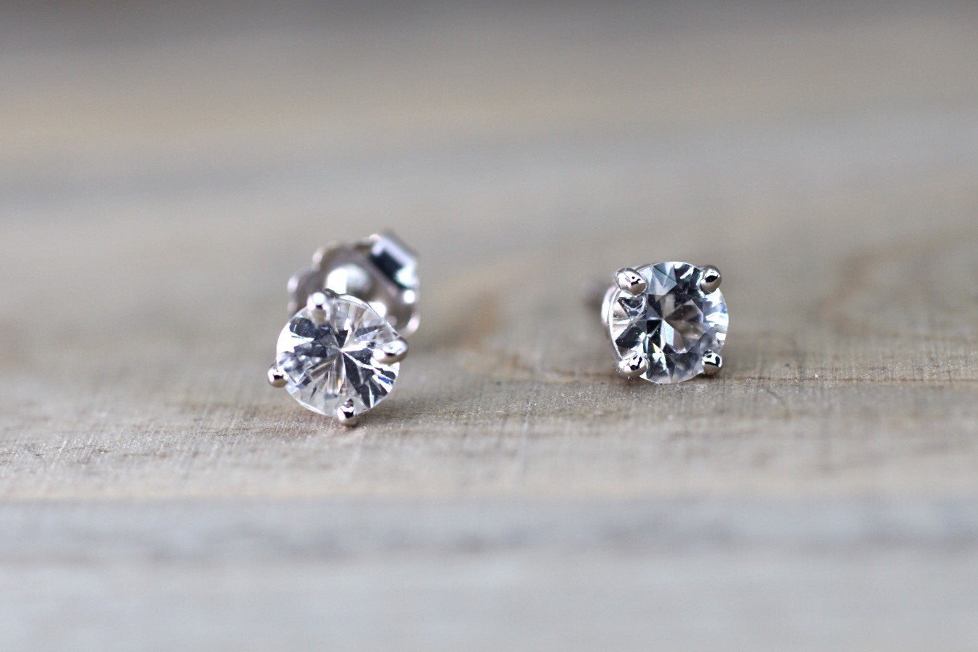 14kt White Gold White Sapphire AAA 5mm 1ct total Earring Studs Post Classic Stud