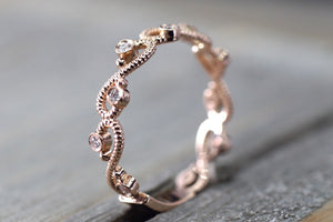 14kt Rose Gold Diamond Vine Vintage Design Rope Milgrain Etching Bezel