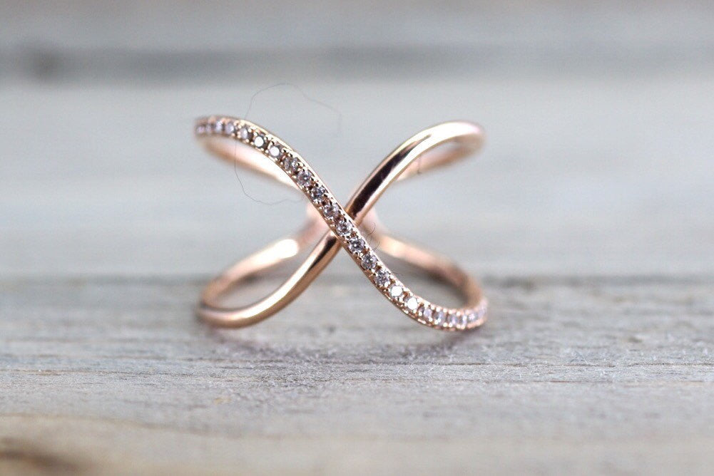 X Cross 14k Rose Gold Diamond Adjustable Love Promise Ring Band Shaped Large Fashion