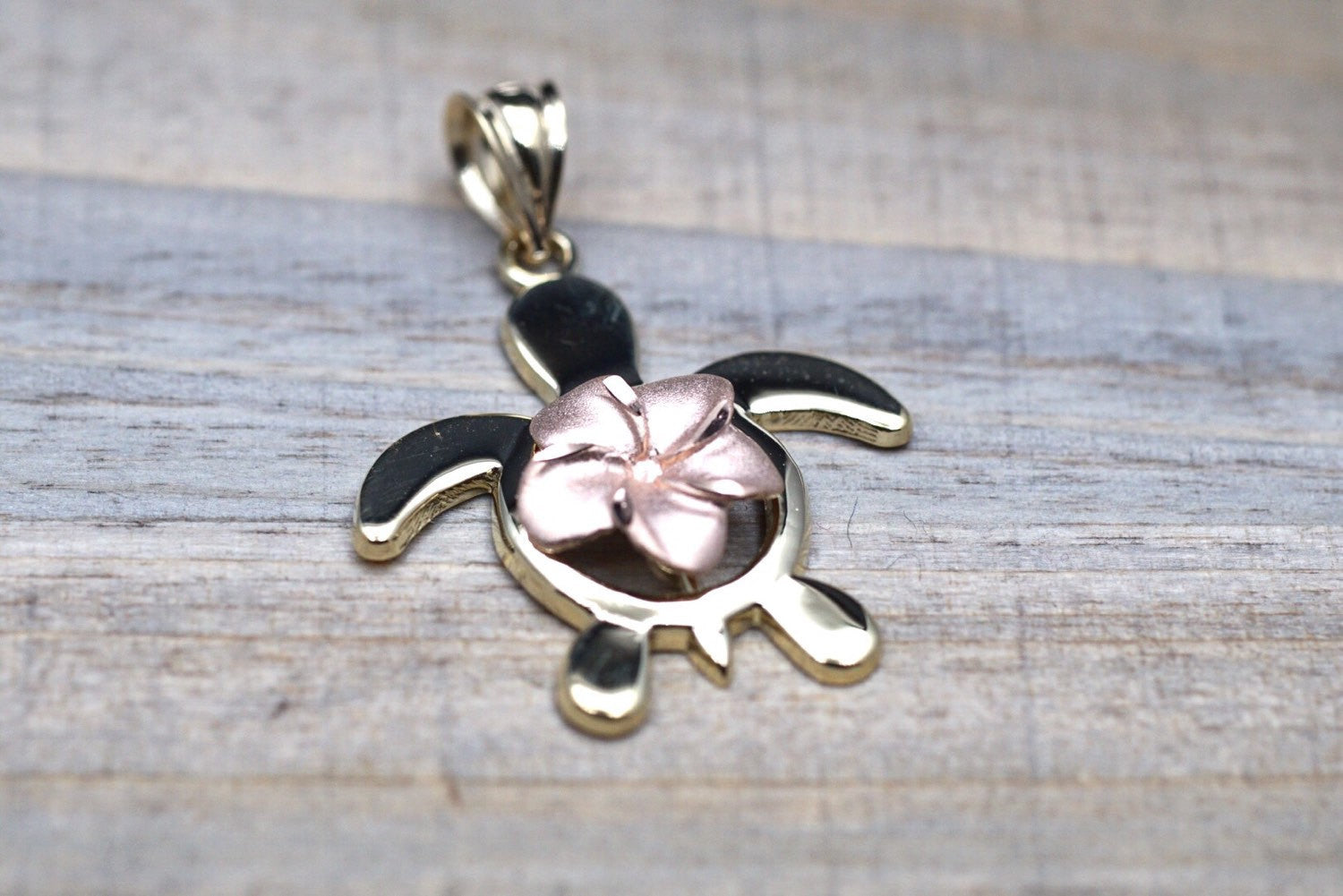 14k Two-tone Rose Yellow Gold Hawaii Hawaiian Flower Plumeria Turtle Pendant - Brilliant Facets