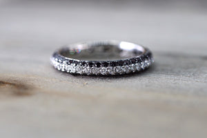 18k White Gold Eternity 3 Row White Black Diamonds Ring Crown Vintage