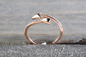 14k Solid Rose Gold Diamond Arrow Open Fashion Ring Band Love Dainty Stackable Loop Catch Stacking - Brilliant Facets