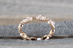 14k Rose Gold Diamond Vintage Oval Milgrain Bezel Full Eternity Band Ring Wedding Engagement - Brilliant Facets
