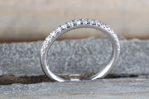 14k White Gold Diamond Band Anniversary Wedding Engagement Love Promise Ring Comfort Fit 2mm - Brilliant Facets