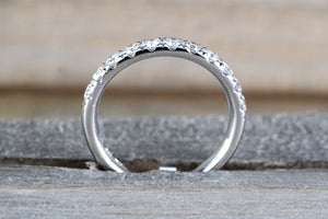 3mm 14k White Gold Diamond Large Love 3mm Ring Band