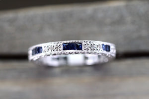 14k White Gold Diamond Sapphire Eternity Vintage Wedding Engagement Promise