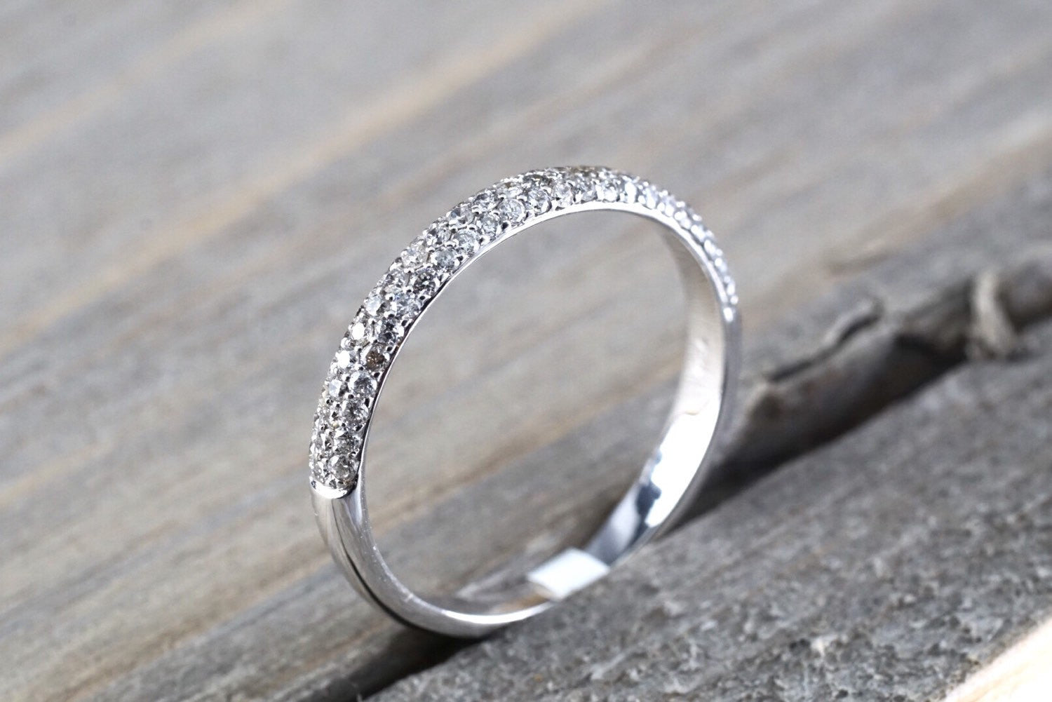 18k White Gold Diamond Micro Pave Wedding Engagement Promise Love Anniversary Band Ring