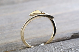 14k Solid Yellow Gold Diamond Open Arrow Ring Band Fashion Twist - Brilliant Facets