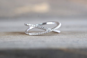 14K White Gold Diamond t Anniversary Engagement Wedding Love Ring
