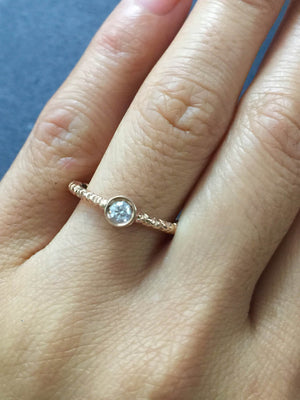 14k Solid Rose Gold Round Bezel Diamond Ring Engagement Wedding - Brilliant Facets