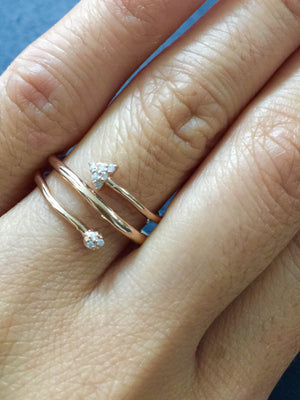 14k Solid Rose Gold Diamond Stack Arrow Wrap Infinity Intertwined Twist Love Ring - Brilliant Facets