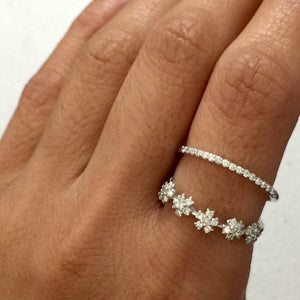 18k White Gold Open Diamond 2 Band Row Spaced Ring Fun Fashion Love Promise Flower Thin