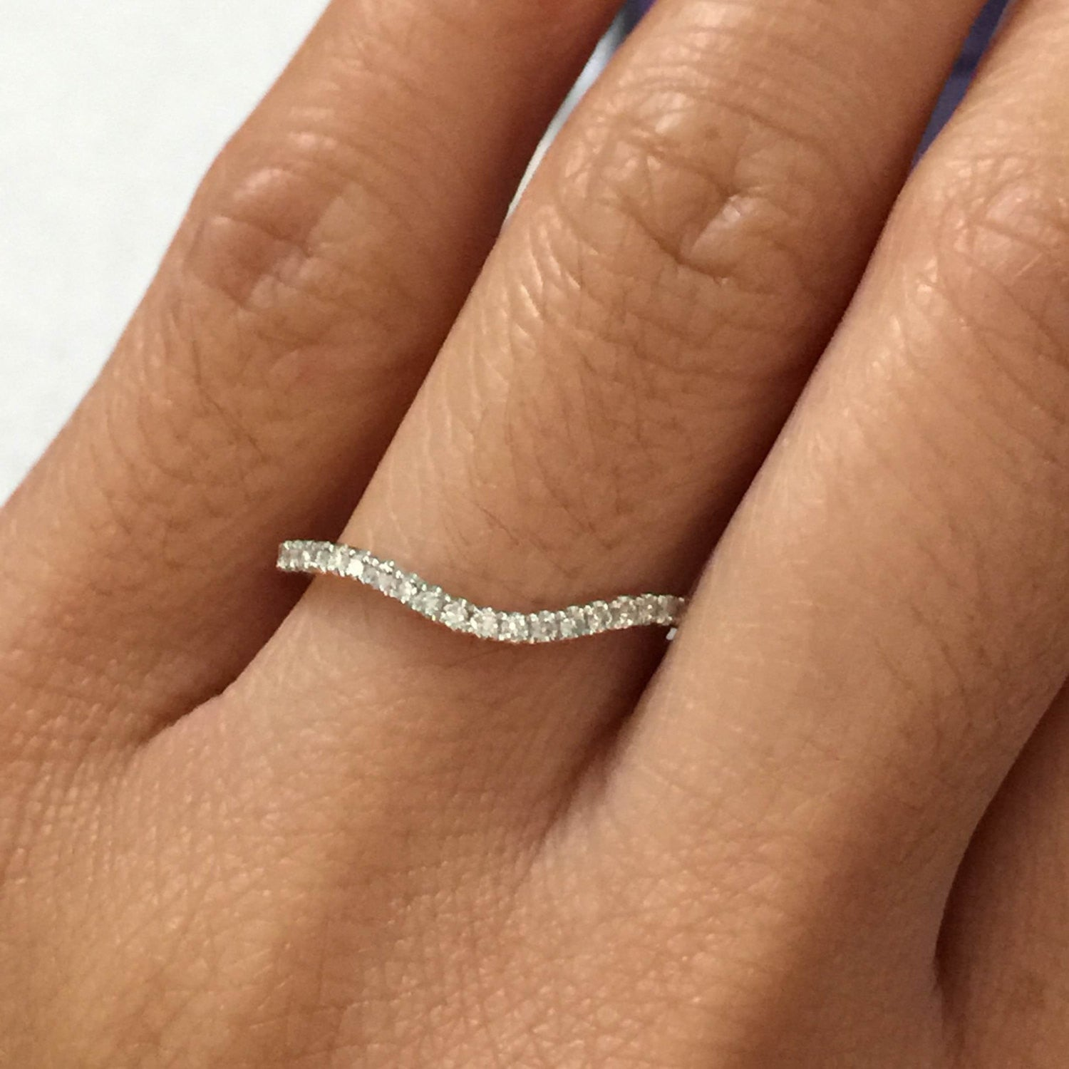 14kt White Gold Diamond Curve V Ring Band Wedding Engagement Stack Dainty