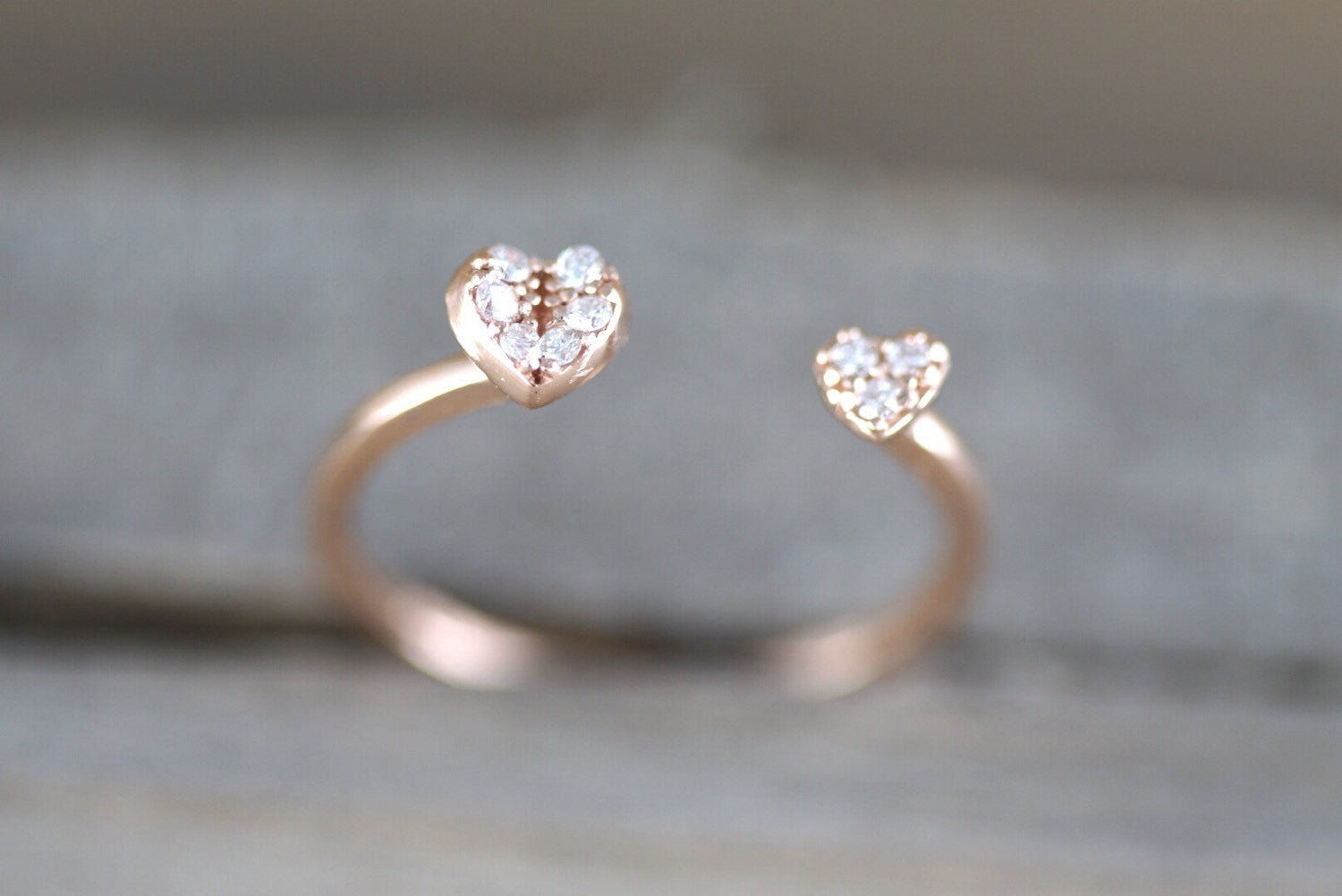 14k Solid Rose Gold Double Heart Love Diamond Ring Engagement Wedding Stack Band Hammered Midi Pave - Brilliant Facets