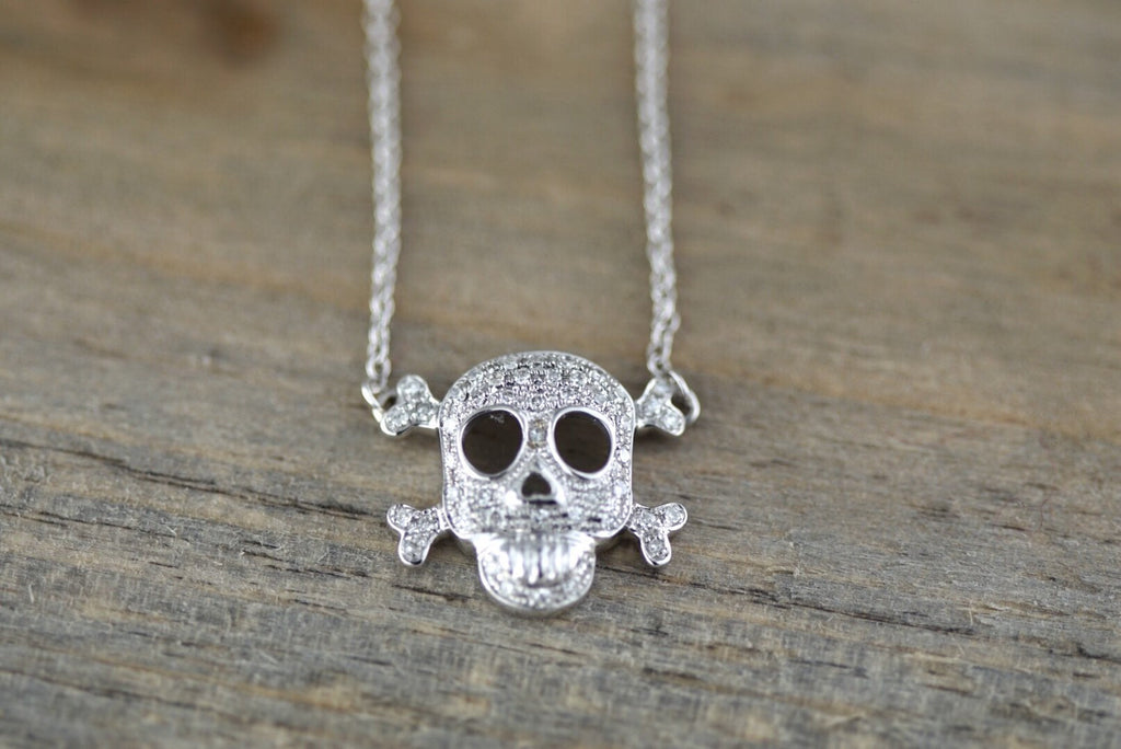 14k White Gold Skull Pave Diamond Dainty Pendant Charm Pirate Dia de los Muertos Day of the Dead