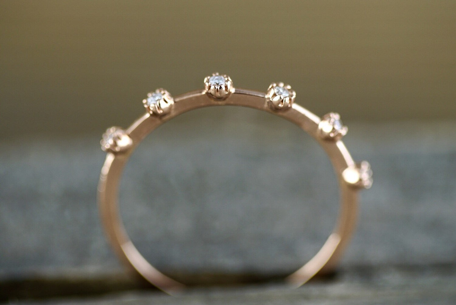 14kt Rose Gold Diamond Vine Large Ring Vintage Design Milgrain Bezel Band