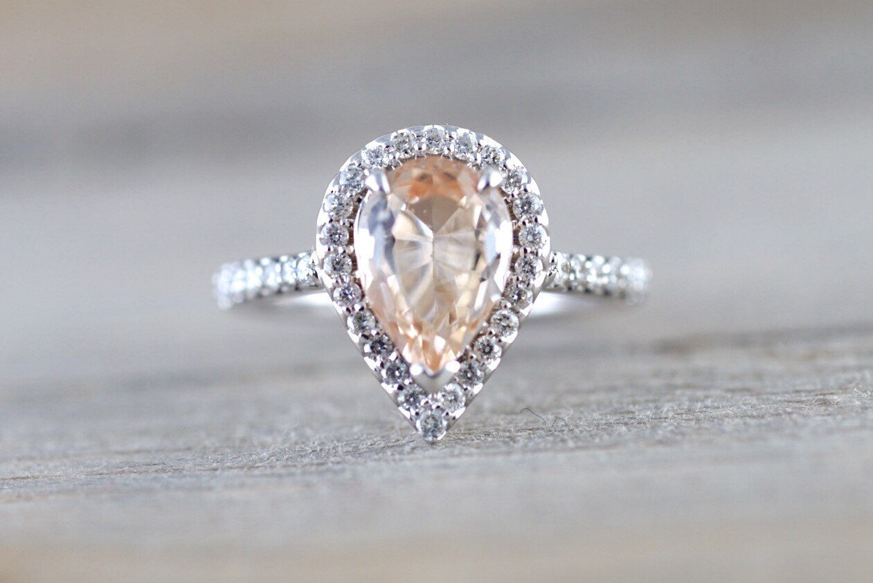 14k White Gold Cushion Cut Morganite Diamond Halo Engagement Ring Checkerboard - Brilliant Facets