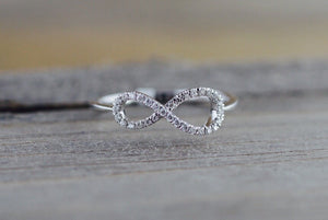 14k White Gold Diamond Pave Polished Infinity Love Symbol Ring Band Promise Anniversary Fashion Rope - Brilliant Facets