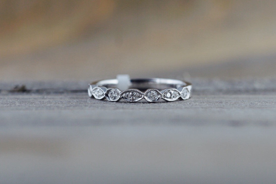 14k White Gold Diamond Vintage Milgrain Etch Etching Ring Antique Half Filigree Dainty Band