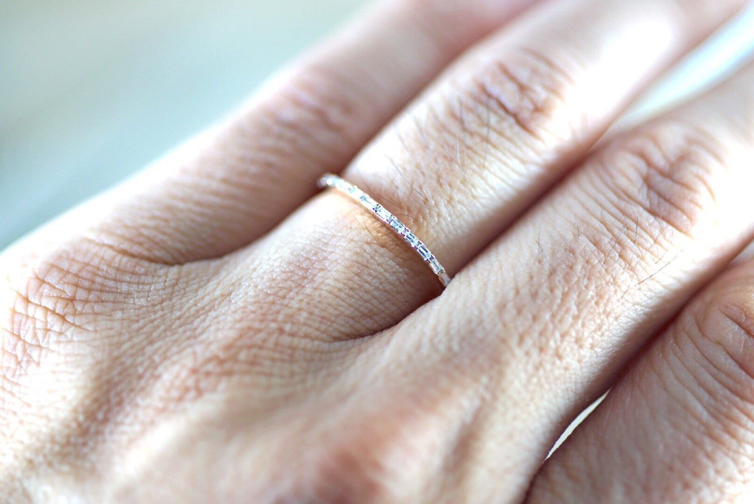 14k Rose Gold Dainty Thin Baguette Cut Rectangle Diamond Band Stackable Design - Brilliant Facets