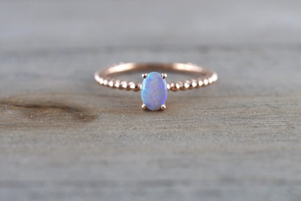 14k Rose Gold Blue Fire Opal Oval Shape Engagement Ring Anniversary Wedding - Brilliant Facets