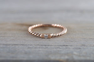 14k Solid Rose Gold Diamond Hammered Textured Rope Twist Band Ring Dainty - Brilliant Facets