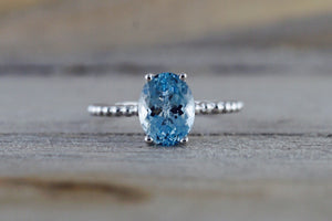 14k White Gold Oval Cut Aquamarine Prong Engagement Promise Ring Rope