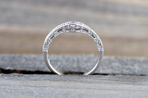 14 Karat White gold Diamond Milgrain Vintage 3 Face Curve V Groove Ring Engagement Wedding Band - Brilliant Facets