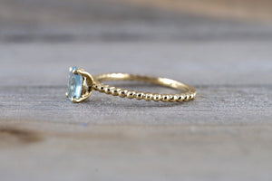 14k Yellow Gold Oval Cut Aquamarine Bead Band Design Solitaire Prong Engagement Promise Ring Rope