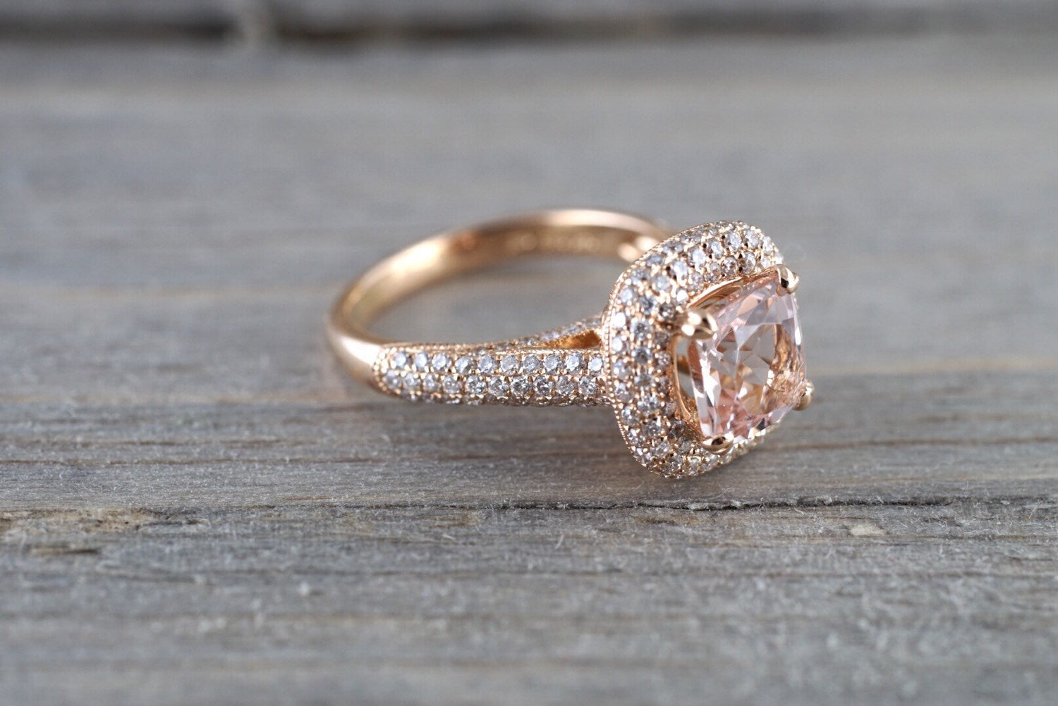 18k Rose Gold Pave Halo Cushion Morganite Peach Beige Diamond Halo Engagement Ring Vintage