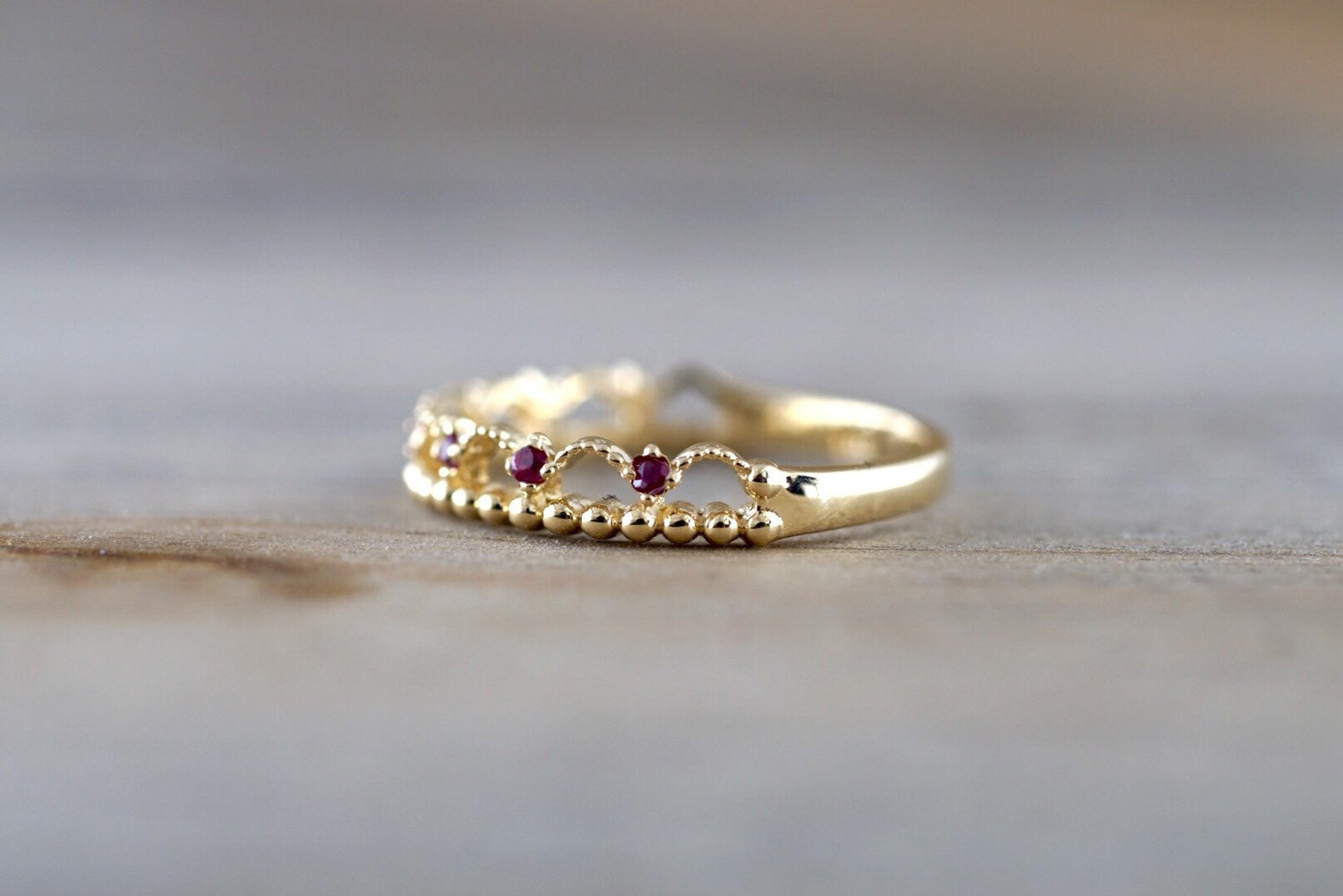 14kt Yellow Gold Red Ruby Ring Wide Vintage Antique Art Deco Crown Tiarra Crown Style Design