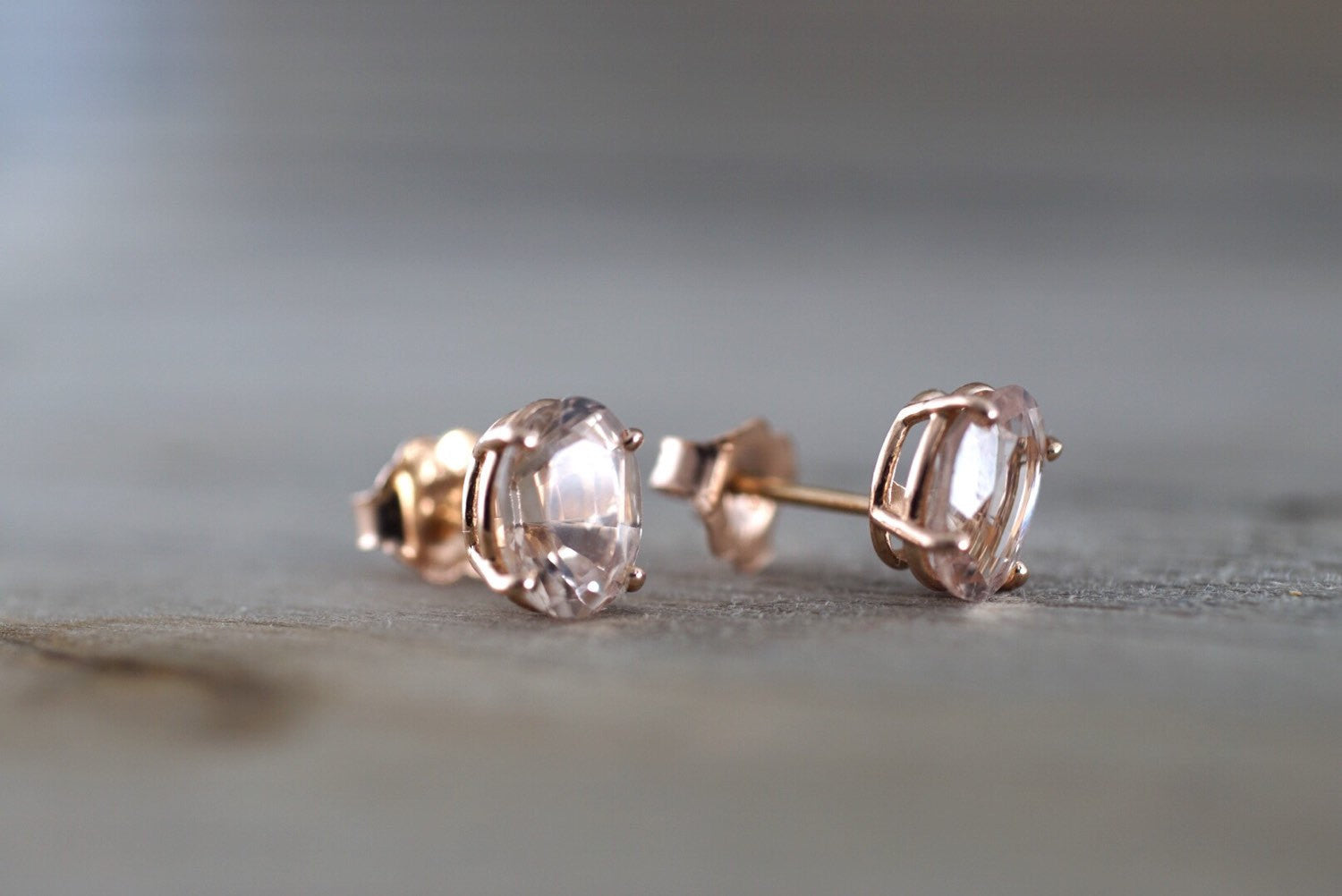 14k Solid Rose Gold Oval Cut Pink Peach Morganite Earring Studs Square Earrings - Brilliant Facets
