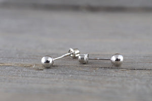 14kt White Gold Ball Bead Earring with Screwback Post Stud 4mm Size