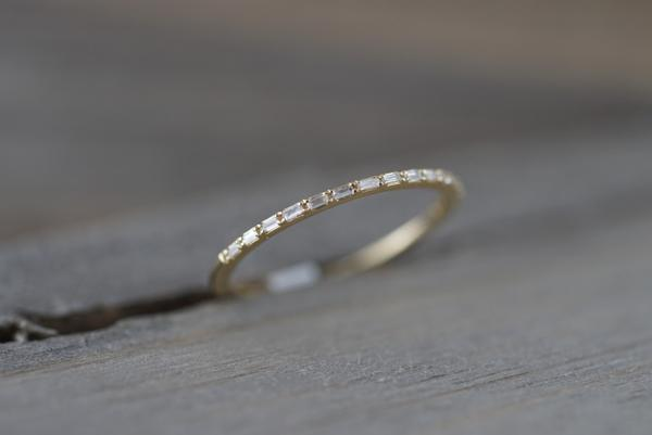Dainty Thin Baguette Rectangle Diamond Ring RR010018