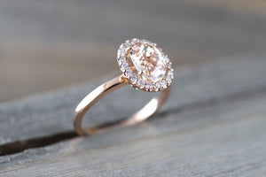 14k Rose Gold Oval Morganite Diamond Halo Engagement Ring - Brilliant Facets